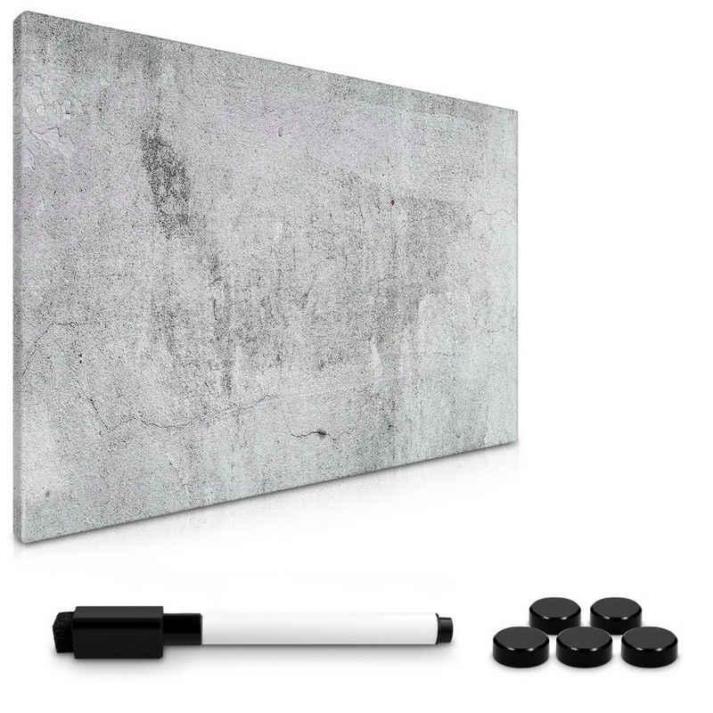 Navaris Memoboard, Magnetpinnwand Memoboard zum Beschriften - 60x40 cm Notiztafel Sichtbeton Design - Tafel abwaschbar mit Halterung Magneten Stift