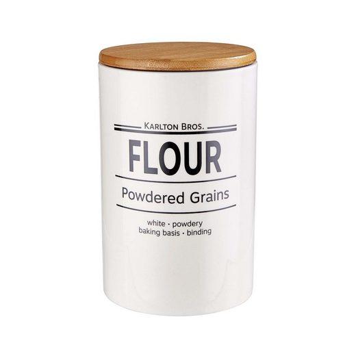 BUTLERS Vorratsdose »KARLTON BROS. Vorratsdose Flour 1100ml«, Porzellan, Bambus