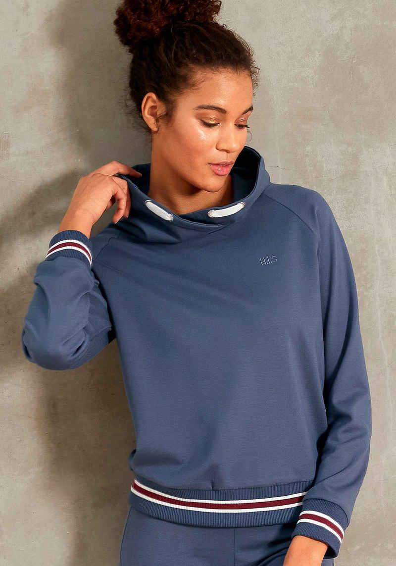 H.I.S Sweatshirt mit geringelte Rippbündchen