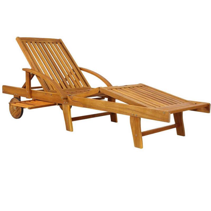 Deuba Gartenliege Gartenliege Tami Sun Akazien Holz verstellbar ausziehbarer Tisch klappbar Holzliege Liege Liegestuhl