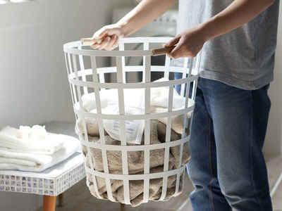 Yamazaki Wäschekorb »Tosca«, rund, mit seitlichen Holzgriffen
