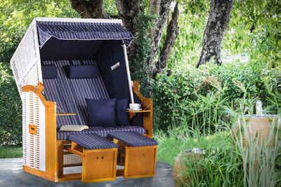 riess-ambiente Strandkorb »OSTSEE 118cm blau / weiß«, BxTxH: 118x80x160 cm, Volllieger, Ostsee-Modell, Outdoor · Garten · Gartenliege · Sonnenliege · Gartensessel