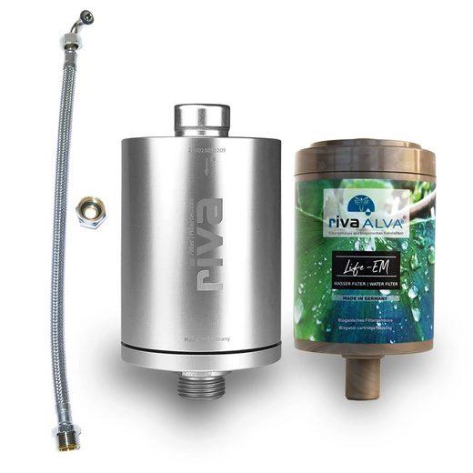rivaALVA Wasserfilter Life-EM Trinkwasserfilter-Set, Blockaktivkohlefilter mit EM Keramik inkl. Schlauchanschluss-Set, Zubehör für Wasserhahn, Made in Germany