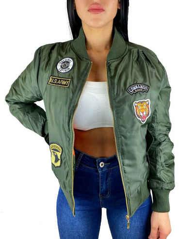 Worldclassca Bomberjacke »Worldclassca Damen Bomber Jacke mit Army Militär Camouflage Patches Übergangsjacke Bomberjacke Blouson Piloten Jacke Fliegerjacke Neu XS-L«