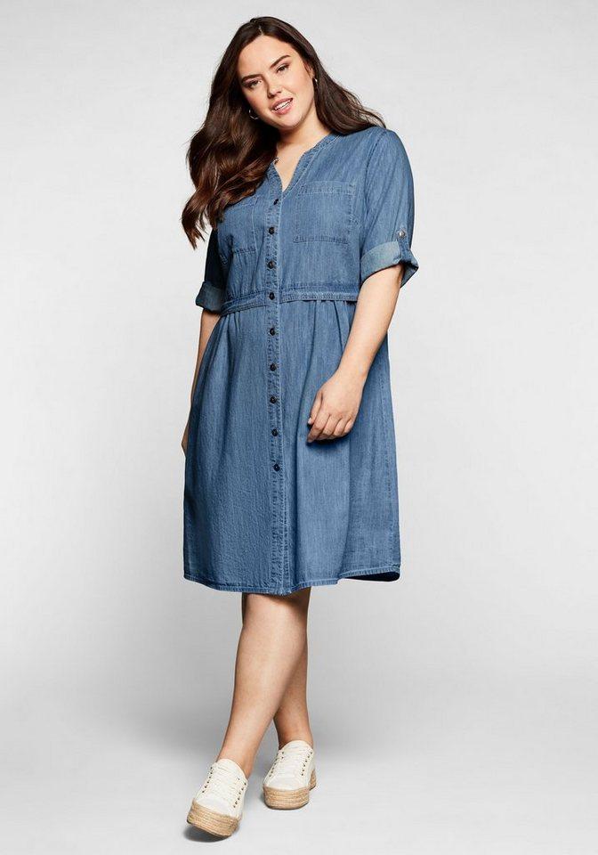 sheego -  Jeanskleid mit Knopfleiste und hoher Taille