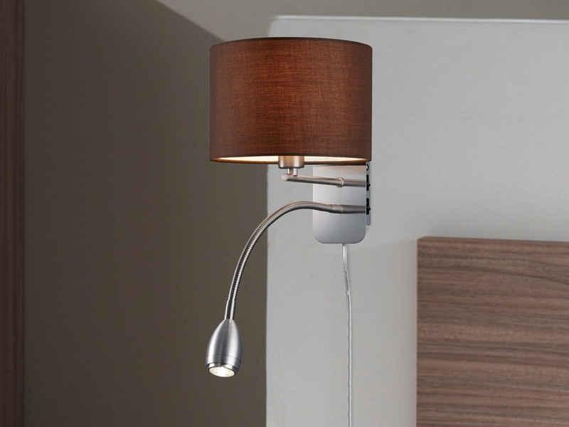 meineWunschleuchte LED Wandleuchte, innen, Lese-Lampe Bett, Lampen-Schirm Stoff Braun, Schwenkarm, Designer Lampe, Wand-Montage, mit Schalter (2x), Stecker