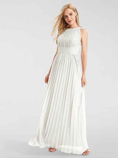 Lang weißes spitze chiffon mit abendkleid Abendkleid Weiß