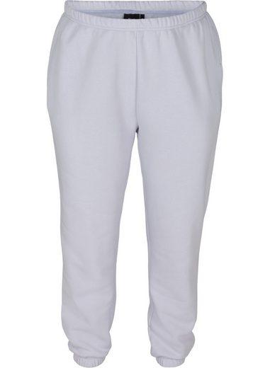 Zizzi Sweathose Große Größen Damen Einfarbige Sweatpants aus Baumwolle mit Taschen
