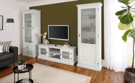Premium collection by Home affaire Lowboard »Kodia«, 159 cm breit, mit grafisch verzierten Glaseinsätzen
