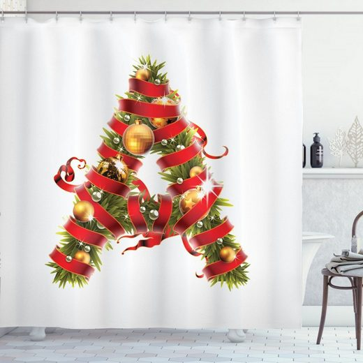 Abakuhaus Duschvorhang »Moderner Digitaldruck mit 12 Haken auf Stoff Wasser Resistent« Breite 175 cm, Höhe 180 cm, Weihnachtsalphabet Ein Brief Art