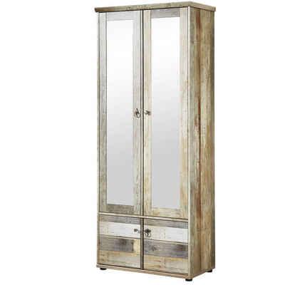 Lomadox Garderobenschrank »BRANSON-36« Vintage Driftwood Braun BxHxT ca. 78x188x40cm