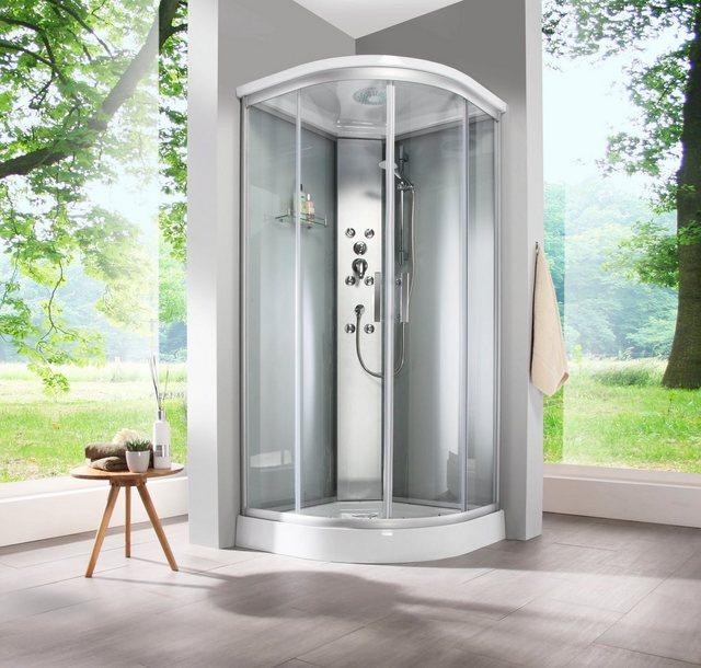 Duschen und Zubehör - WELLTIME Fertigdusche »Porto«, BxT 90 x 90 cm, frosted glass, Viertelkreis Runddusche  - Onlineshop OTTO