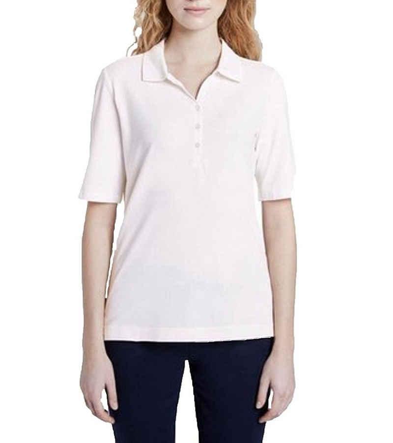 TOM TAILOR Poloshirt »TOM TAILOR Polo-Shirt modisches Damen Shirt mit Umlegkragen und Knopfleiste Freizeit-Shirt Weiß«