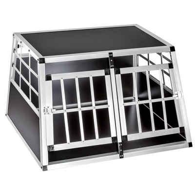 tectake Tiertransportbox »Hundetransportbox doppel mit gerader Rückwand«