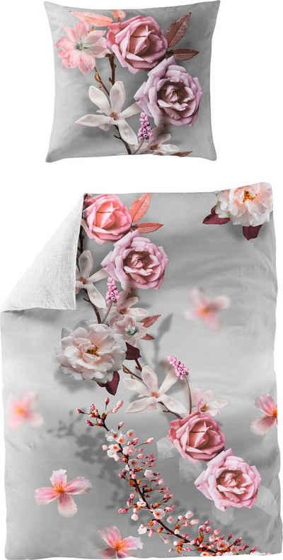 Wendebettwäsche »Pink Rose«, BIERBAUM, mit floralem Print