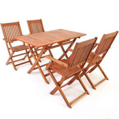 Deuba Sitzgruppe »Sydney«, klappbar FSC®-zertifiziertes Akazienholz 5-TLG Tisch Sitzgarnitur Holz Garten Möbel Set
