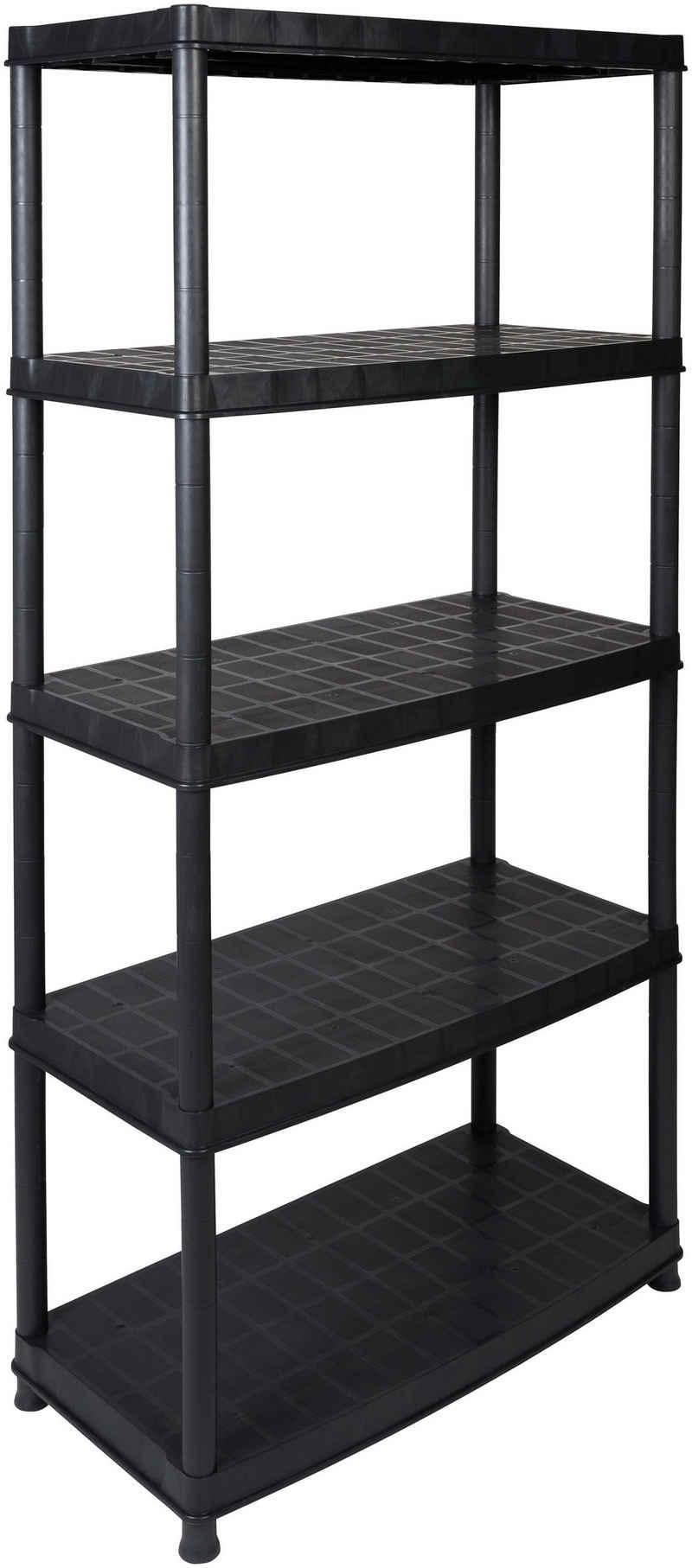 Kreher Steckregal »Haushaltsregal, in schwarz«, B/T/H: 92,5x45,8x185 cm, mit 5 geschlossenen Böden