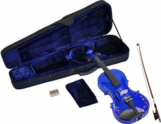 Steinbach Violine »Steinbach 1/16 Geige im SET blau mit Blumendekor handgearbeitet« 1/16