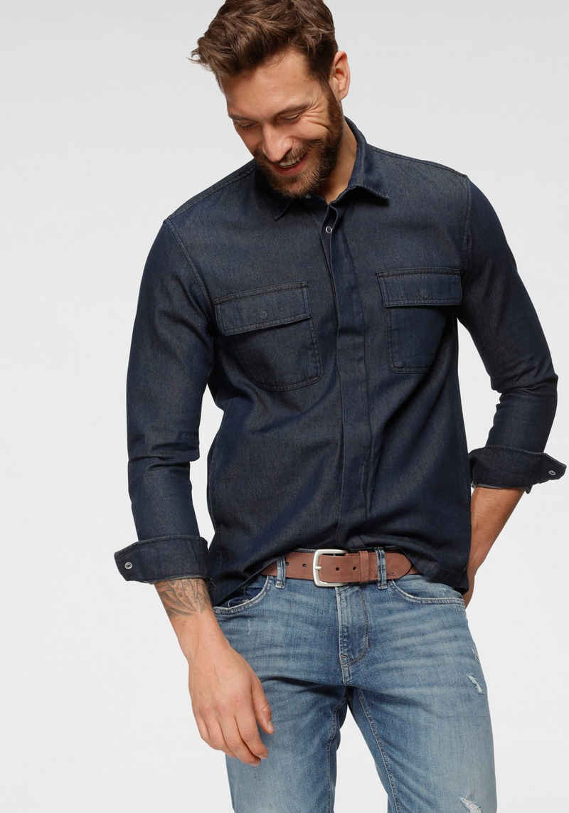 TOM TAILOR Denim Langarmhemd mit Brusttaschen