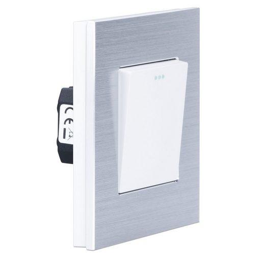 Navaris Lichtschalter, Design Schalter aus Aluminium - Schalter mit Rahmen aus Aluminium - Einbauschalter - Aufputz Wandschalter