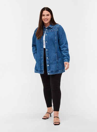 Zizzi Jeansjacke Große Größen Damen Denimjacke aus Baumwolle mit Taschen und Nieten