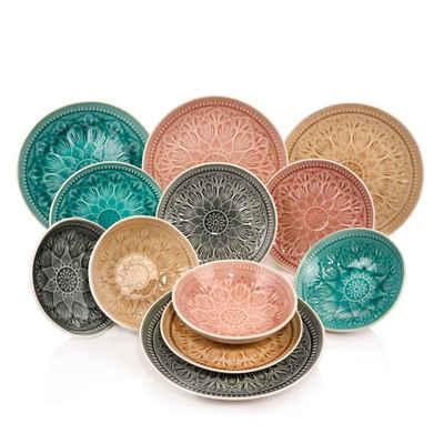 SÄNGER Tafelservice »Bari« (12-tlg), Steingut, 4 Unterschiedliche Farben,wunderschönes Muster