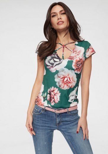 Melrose V-Shirt mit Bänderdetail im Ausschnitt
