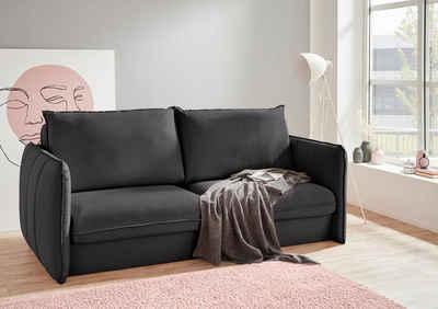 INOSIGN Polstergarnitur »Tiny Mike«, (3-tlg), Verwandlungsofa: 2 Hocker im Sofa integriert, können separat gestellt werden, mit Keder und feiner Steppung, Sitzbreite 200 cm