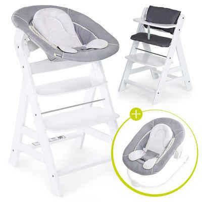 Hauck Hochstuhl »Alpha Plus White - Newborn Set« (4 Stück), Holz Hochstuhl ab Geburt + Neugeboreneneinsatz & Wippe Stretch Grey + Sitzpolster