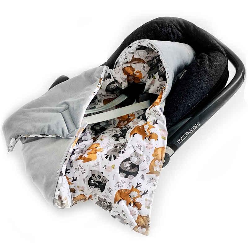 Einschlagdecke »Babyschale Autositz mit Klettverschluss, Wattiert, Universal, 0-6 Monaten 0-12 Monaten«, BABEES