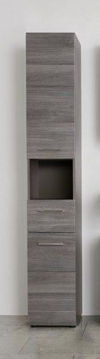 trendteam Hochschrank »Skin« Höhe 182 cm, Badezimmerschrank mit Fronten in Hochglanz- oder Holzoptik, mit Schubkasten und offenem Fach