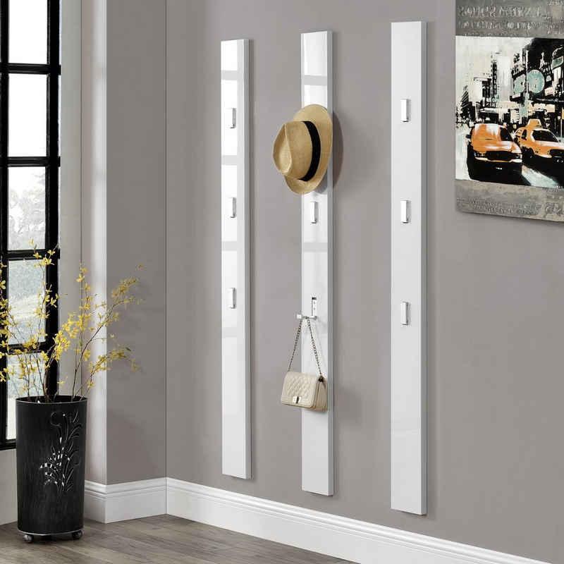 en.casa Garderobenleiste, »Namur« Wandpaneel mit 3 ausklappbaren Haken weiß