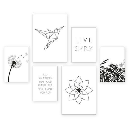 Kreative Feder Poster, Natur, Minimalismus, minimalistisch, schwarz-weiß, modern, Inspiration (Set, 6 Stück), 6-teiliges Poster-Set, Kunstdruck, Wandbild, Posterwand, Bilderwand, optional mit Rahmen, WP520
