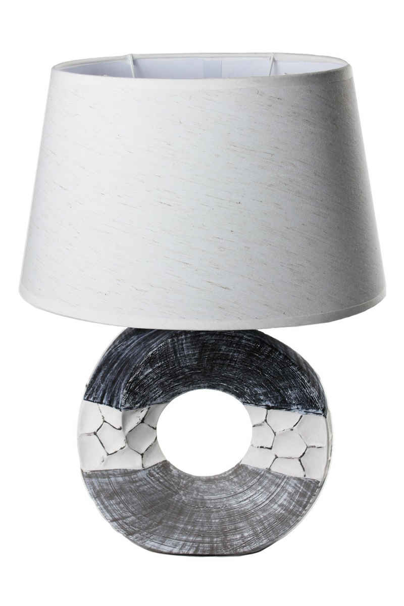 Arnusa Tischleuchte »Maritim Keramik Tischlampe Nachttischlampe«, mit ovalen weißen Schirm