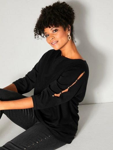 Angel of Style by HAPPYsize 3/4 Arm-Pullover mit Cut-Outs an den Ärmeln