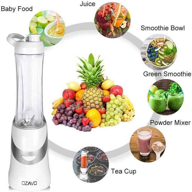 OZAVO Smoothie-Maker OZ111, Standmixer, Smoothie mixer, Blender 350W, BPA frei, 600ml Tritan-Trinkflasche tragbar, 4 Edelstahlmesser