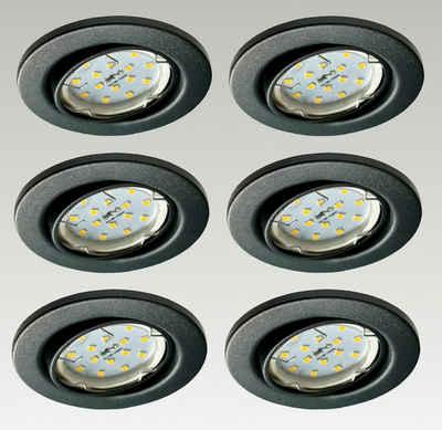 TRANGO LED Einbauleuchte, 6729-061GUSDAK 6er Set LED Deckenstrahler in Anthrazit matt Rund inkl. 6x 5 Watt 3-Stufen dimmbar GU10 LED Leuchtmittel 3000K warmweiß leuchtend Einbaustrahler, Einbauspot, Deckenleuchte, Deckenspots