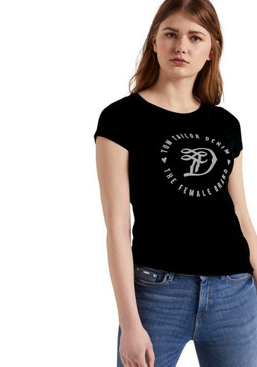 TOM TAILOR Denim Kurzarmshirt mit großflächigem Print auf der Brust