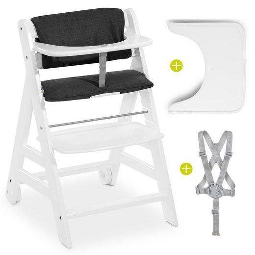 Hauck Hochstuhl »Beta Plus - Weiß« (2 Stück), Mitwachsender Holz Treppenhochstuhl mit Essbrett, Schutzbügel, Sitzauflage, Gurt und Rollen