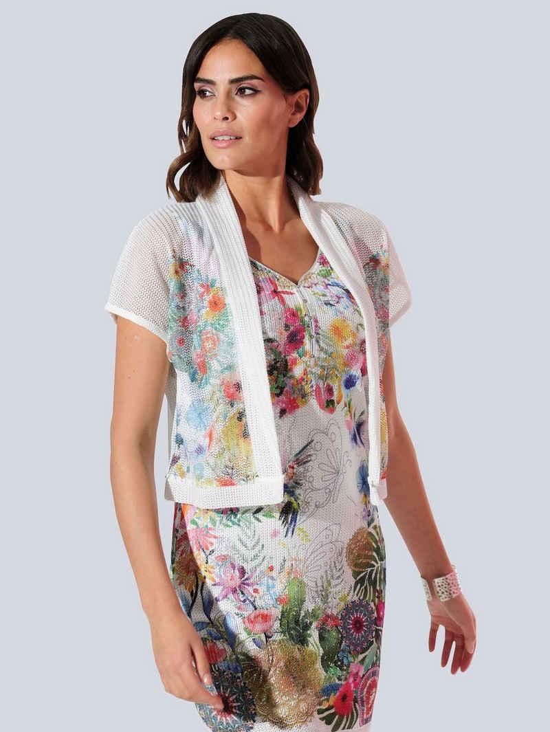 Alba Moda Shirtjacke partiell bedruckt im floralem Dessin
