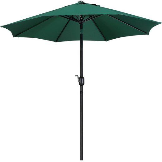 Yaheetech Sonnenschirm, ø 270 cm Gartenschirm Marktschirm Rund Terrassenschirm UV-Schutz Kurbelschirm mit Kurbelvorrichtung, Dunkelgrün
