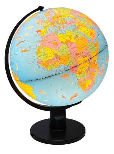 BONETTI Globus »Kinderglobus mit LED Beleuchtung, ca. Ø 30 cm«, Tierabbildung, 3 Watt Leuchtmittel, An- und Ausschalter, Drehbar, Längengradangabe