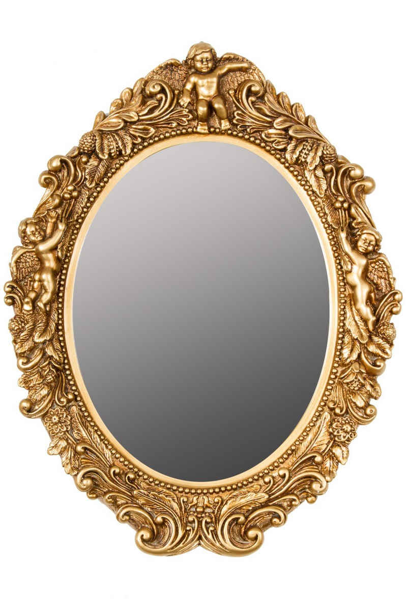 elbmöbel Wandspiegel »Spiegel Oval Barock gold Wandspiegel«, Wandspiegel: Oval 50x43x5 cm gold barock shabby chic pompös