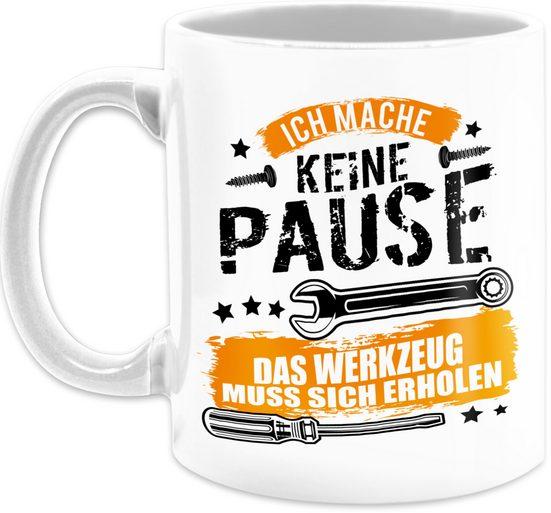 Shirtracer Tasse »Ich mache keine Pause, das Werkzeug muss sich erholen - schwarz - Tasse mit Spruch - Tasse zweifarbig«, Keramik