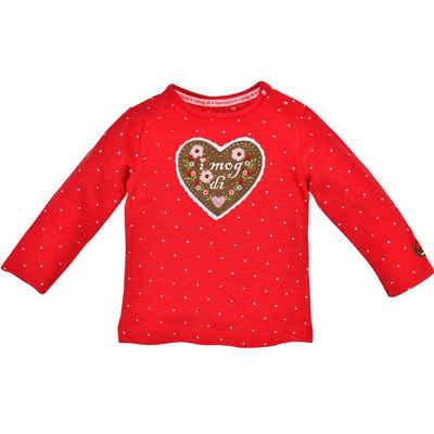 """BONDI Langarmshirt »""""I mog di"""" mit Herz 86551 - Rot, Baby Mädchen Trachten Kindermode«"""