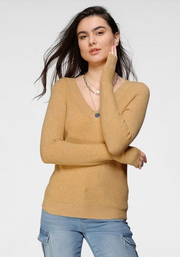 Only V-Ausschnitt-Pullover »ONLATIA« in melierter Optik