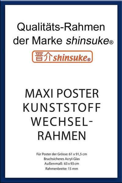 empireposter Rahmen »Posterrahmen Wechselrahmen Shinsuke® Maxi-Poster Profil: 15mm Kunststoff 61x91,5cm«, Farbe blau mit Acryl-Scheibe