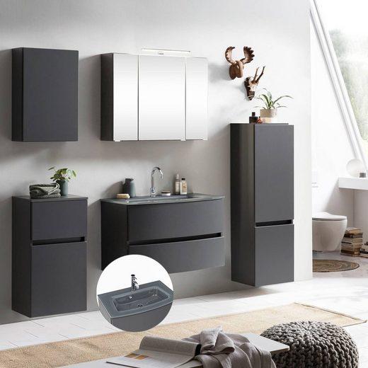 Lomadox Badmöbel-Set »LAURIA-03«, (Spar-Set, 5-tlg), Badezimmermöbel in Graphitgrau mit matt grau inkl. Glasbecken grau, Beleuchtung, BxHxT: ca. 200x200x49 cm