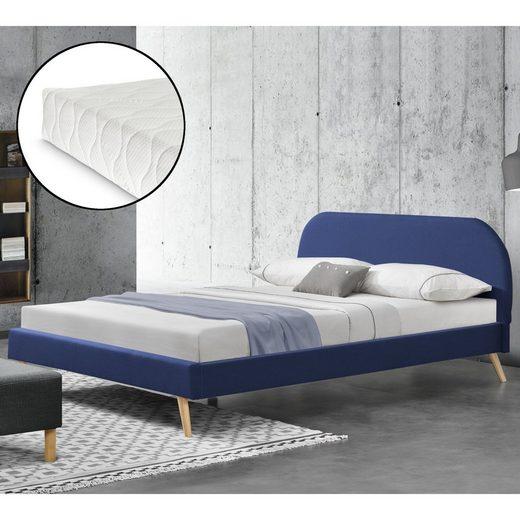 Corium Polsterbett, »Elvas« Bettgestell Ehebett aus Leinen mit Kaltschaummatratze in verschiedenen Farben und Größen