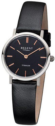 Regent Quarzuhr »URF1086 Regent Damen-Armbanduhr schwarz Analog«, (Analoguhr), Damen Armbanduhr rund, Lederarmband schwarz